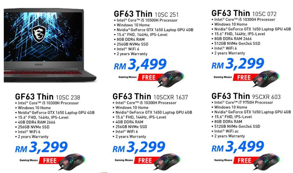 MSI 2021 Midyear Sales gf63 thin