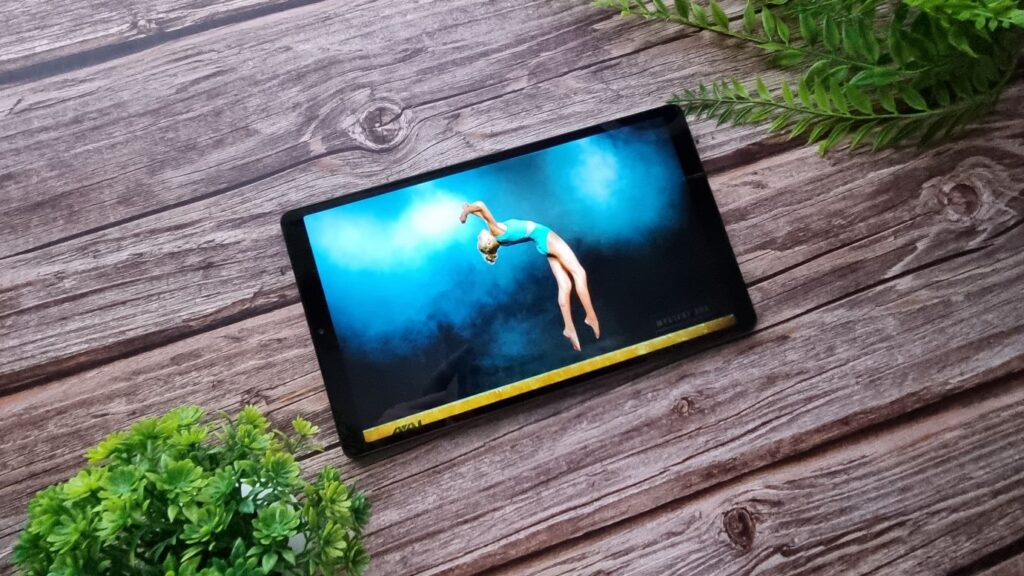 Samsung Galaxy Tab A7 Lite Unboxing angled with screen on