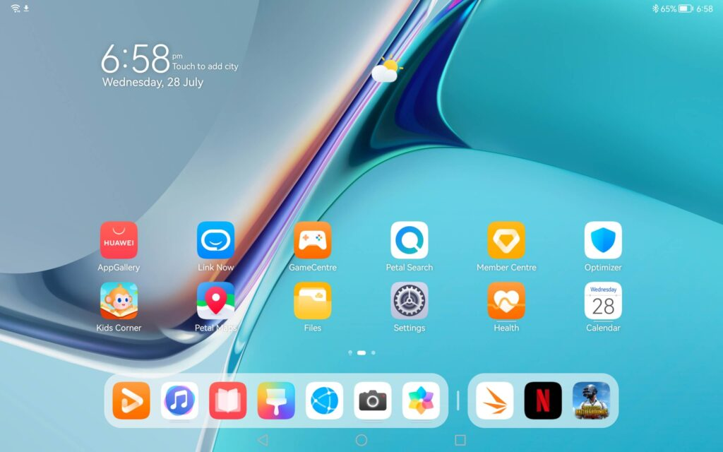 Huawei MatePad 11 review homescreen