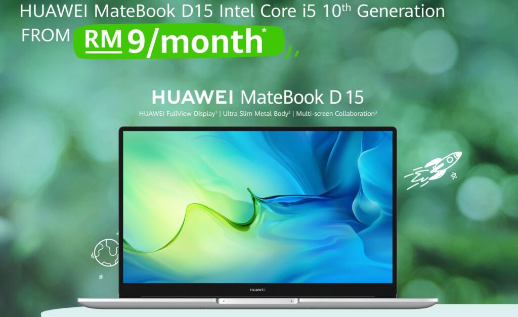 Huawei MateBook D15 for RM9 a month cover