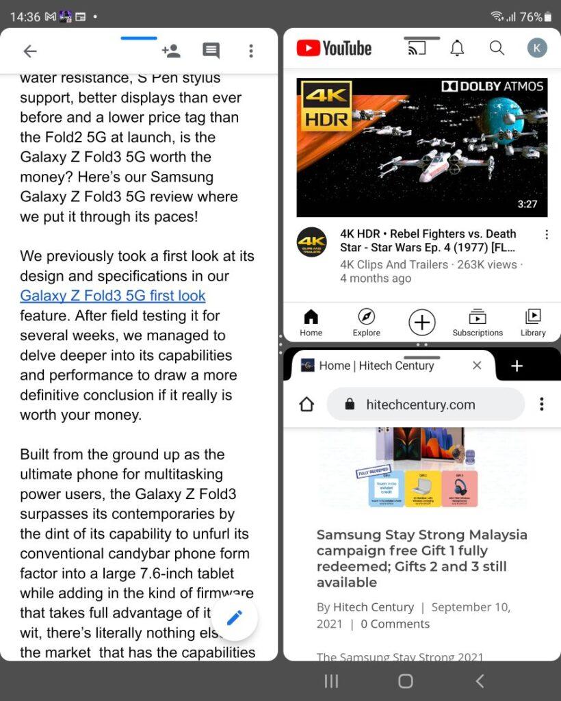 Samsung Galaxy Z Fold3 5G Review triple window
