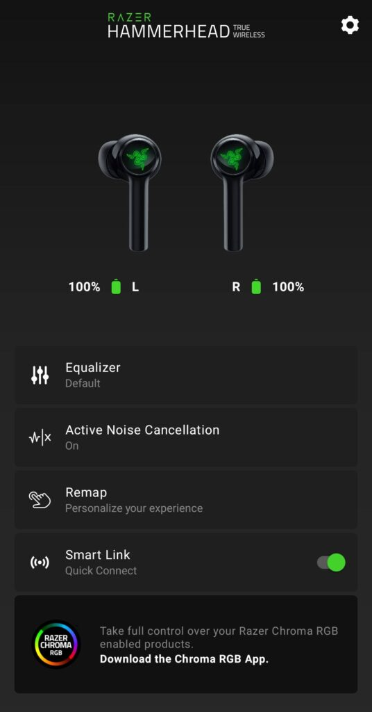 Razer Hammerhead True Wireless 2021 razer audio app 1