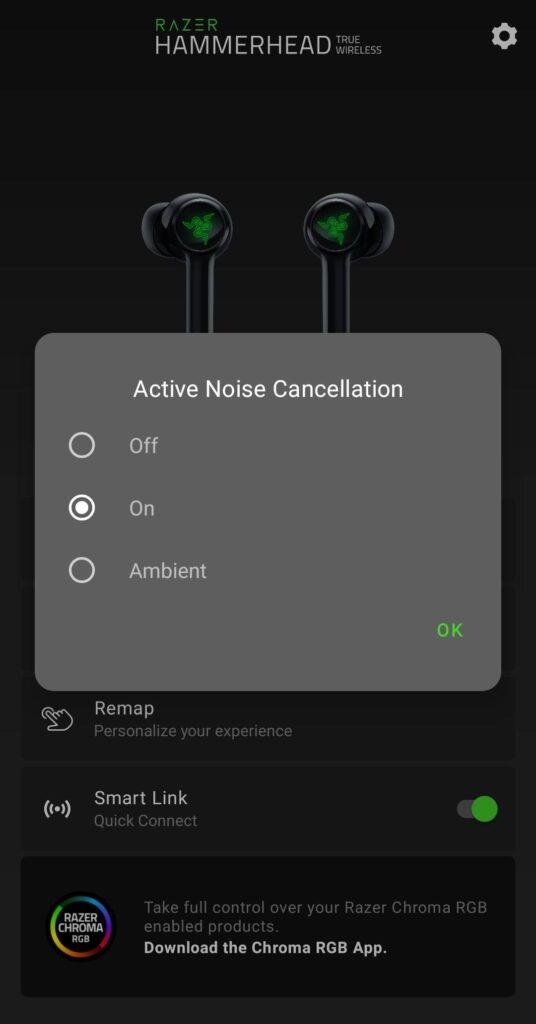 Razer Hammerhead True Wireless 2021 ANC settings