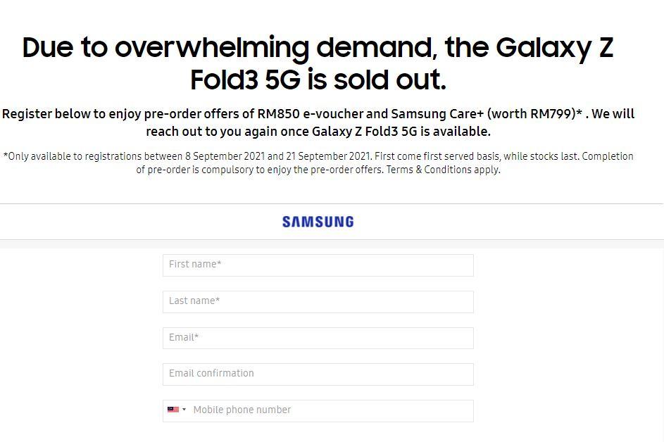 galaxy z fold3 5g preorder landing page