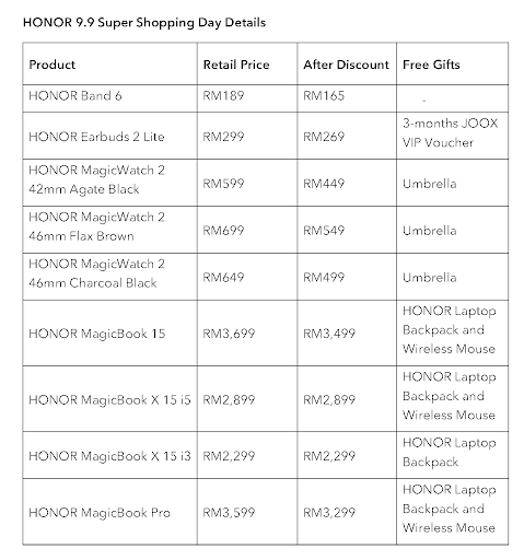 HONOR 9.9 Super Shopping Day list