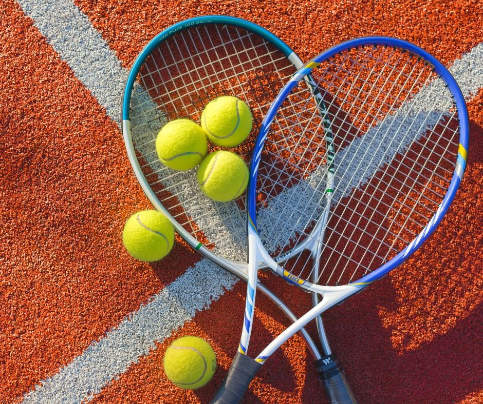 two tennis rackets on a court