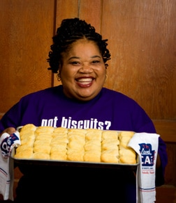 Carol Fay Ellison holding her world famous biscuits