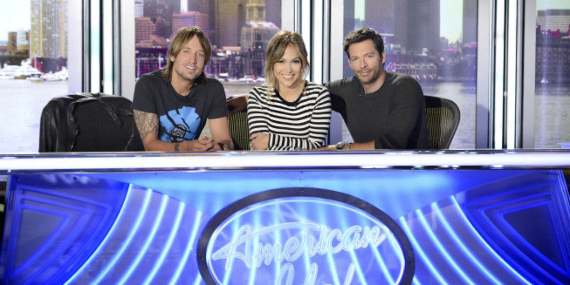 AMERICAN IDOL XIII: L-R: Keith Urban,Jennifer Lopez and Harry Connick Jr. CR: Michael Becker / FOX. © Copyright  2013 / FOX