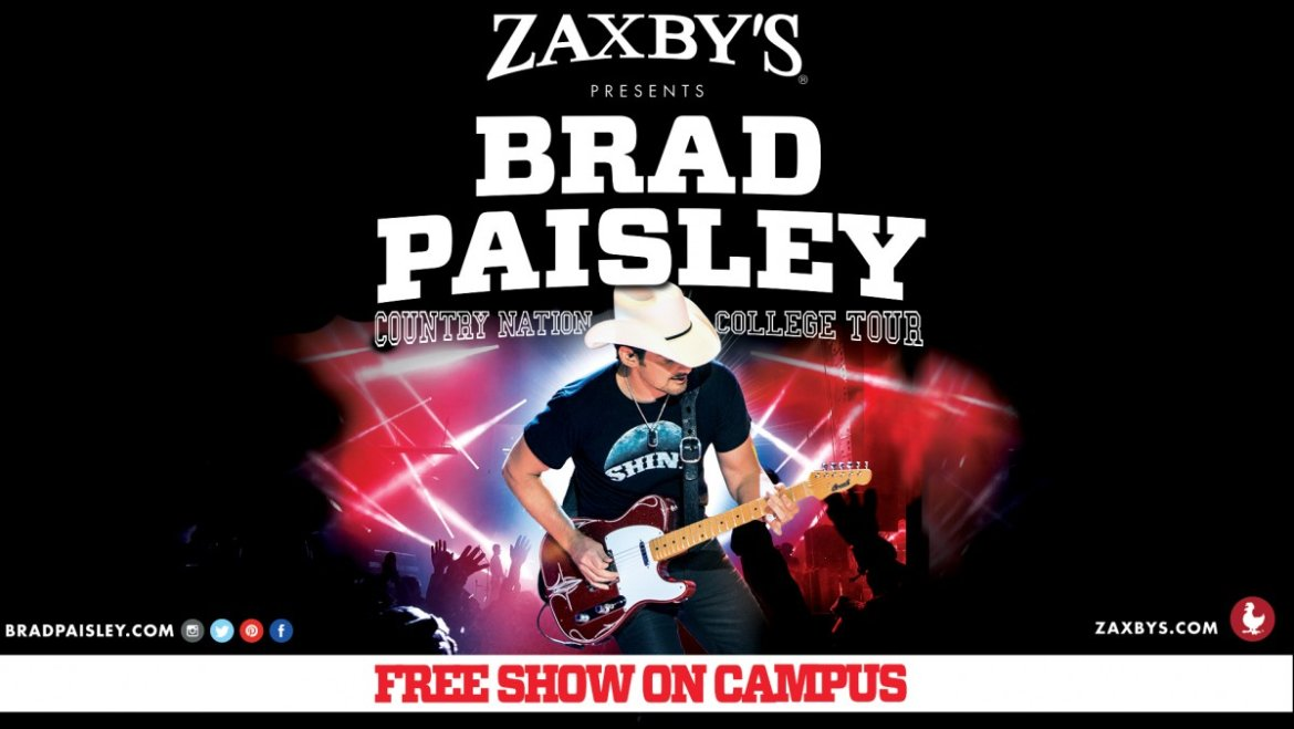 Brad Paisley is giving college kids some free concerts next month