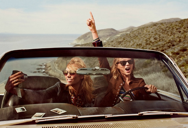 Taylor Swift and Karlie Kloss drive around
