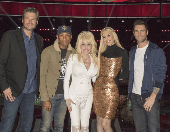 Dolly Parton and The Voice coaches - Pinterest