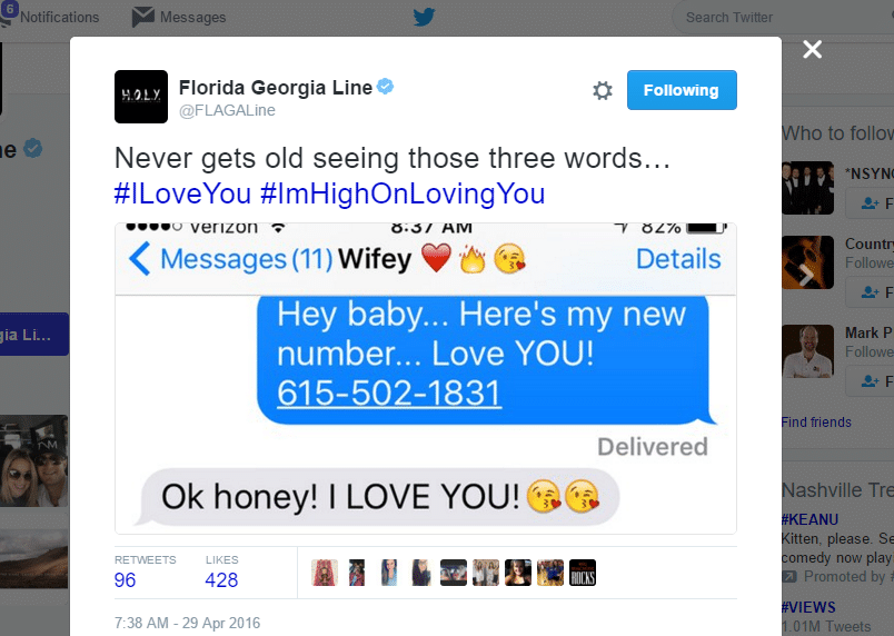 Read more about the article Nope, Florida Georgia Line didn't just tweet out their personal phone number