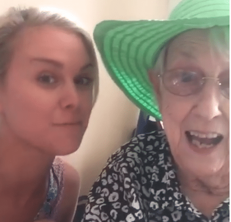 Too cute! Laura Bell Bundy documents her and her grandmother getting their ears pierced together