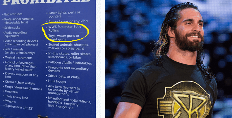 Why does this WWE wrestler keep getting banned from country festivals?
