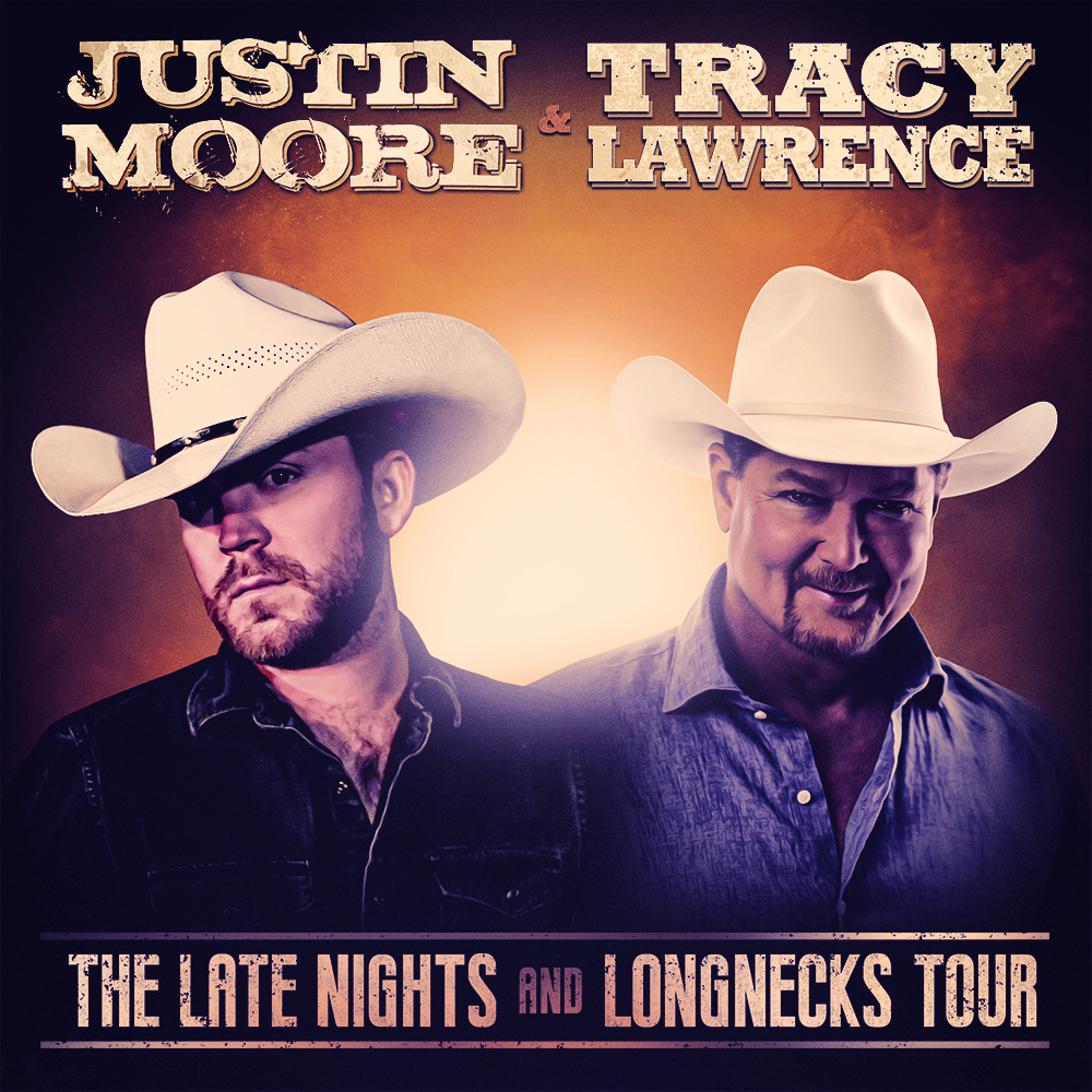 Justin Moore and Tracy Lawrence announce The Late Nights and Longnecks Tour