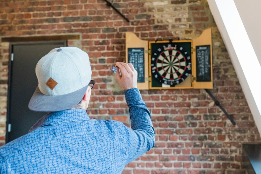 Man Throwing Darts