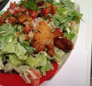 Tostada salad with fish
