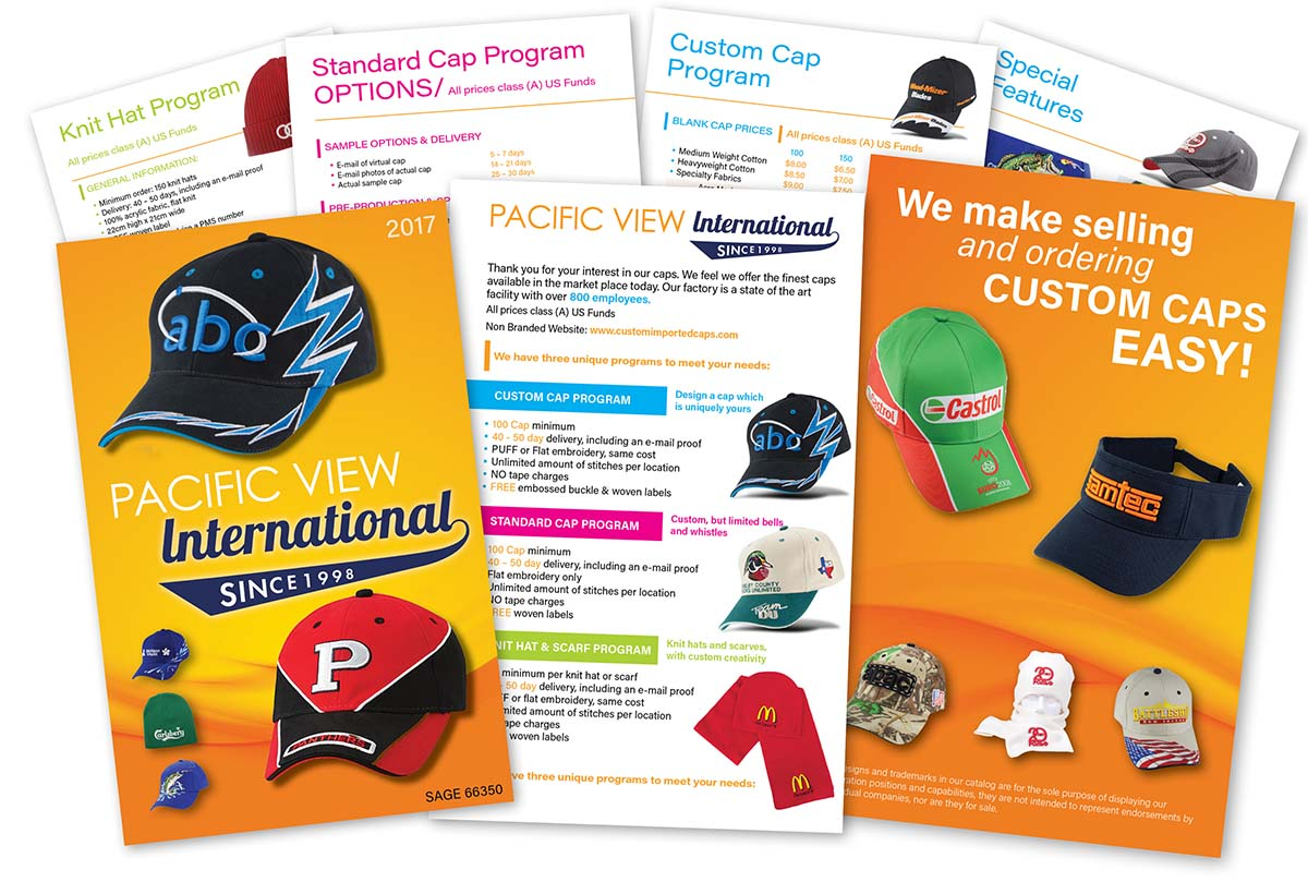 Click here to see the multi-page caps, hats, and scarfs brochure catalog design example.
