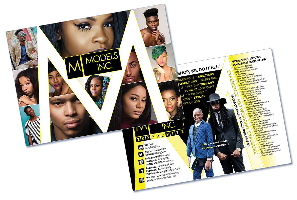 Postcard Fashion and Modeling Custom Graphic Design Example