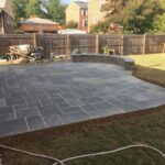 Dimensional bluestone patio and seating wall