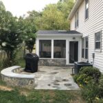 Flagstone Patio with Large Seat Wall