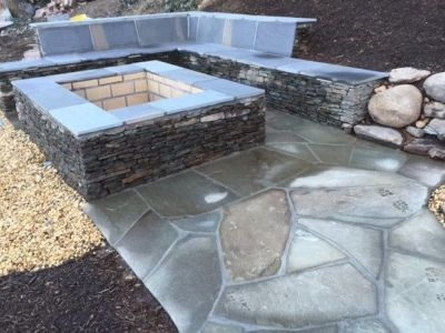 Natural Stone Fire Pit Smith Landscaping Beloit Ohio