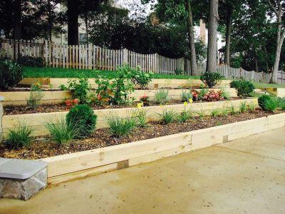Terraced Backyard Slope Retaining Wall Smith Landscaping Beloit Ohio