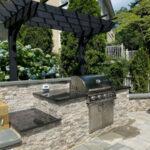 Granite countertop with custom built-in grill