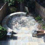 Dimensional flagstone patio and seating wall