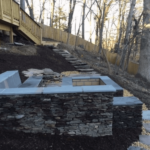 Square Stacked Stone Firepit