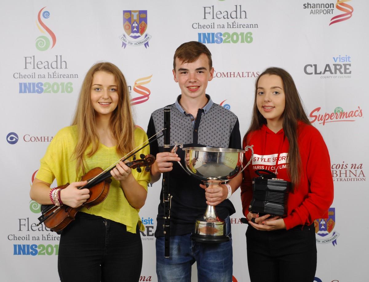 Roisin Clancy, James Kelly and Shona O'Halloran who won the Trio U15 competition. Pic: Loretta O'Loughlin (www.instantimageireland.com)