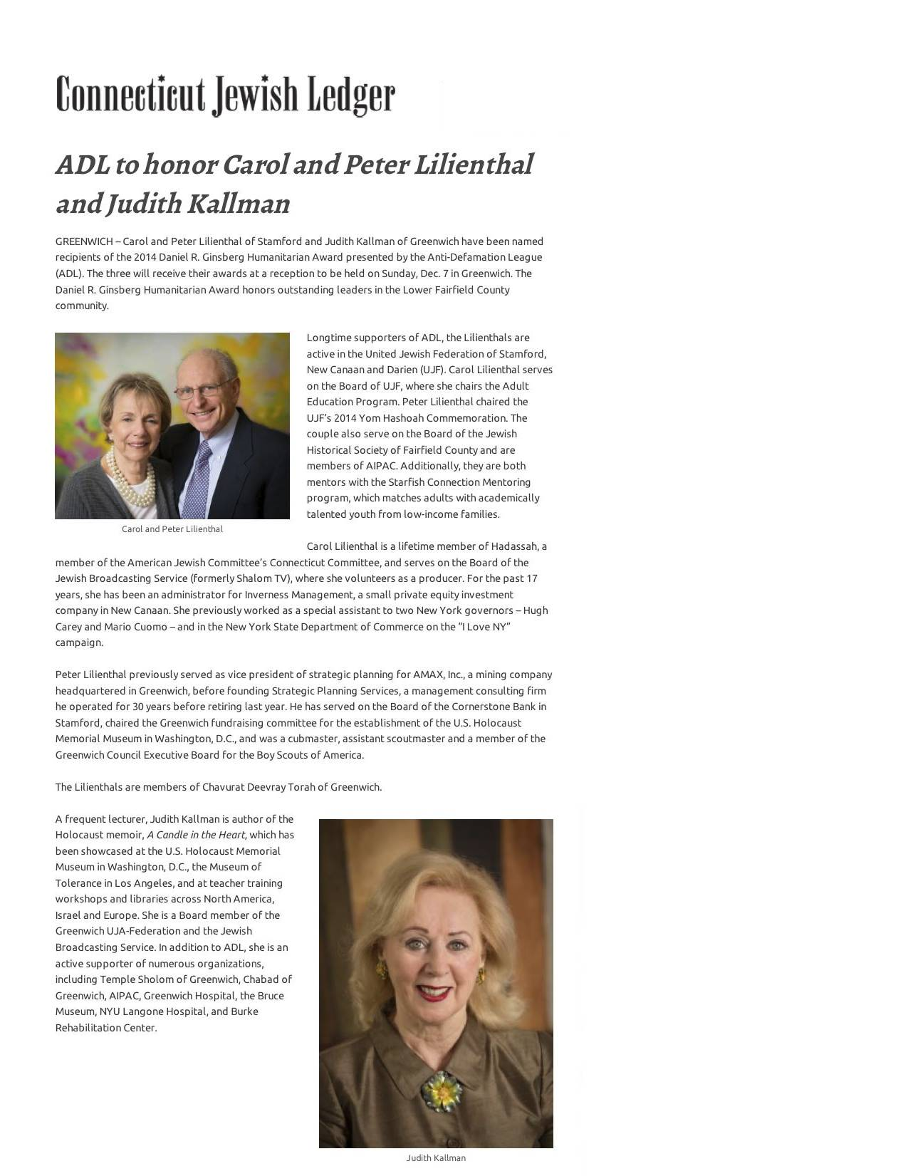 ADL to honor Carol and Peter Lilienthal and Judith Kallman - Jewish Ledger