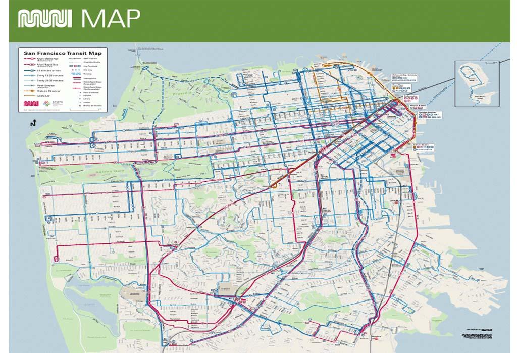 Mapa do muni em San Francisco