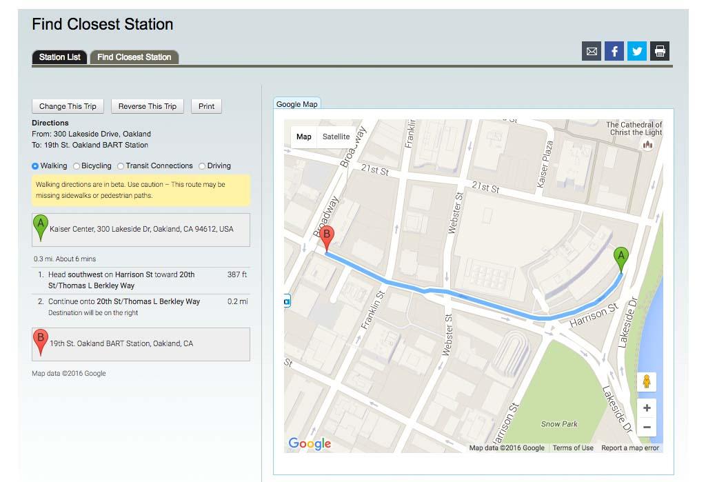 Encontrar a estação do Bart mais próxima do seu destino