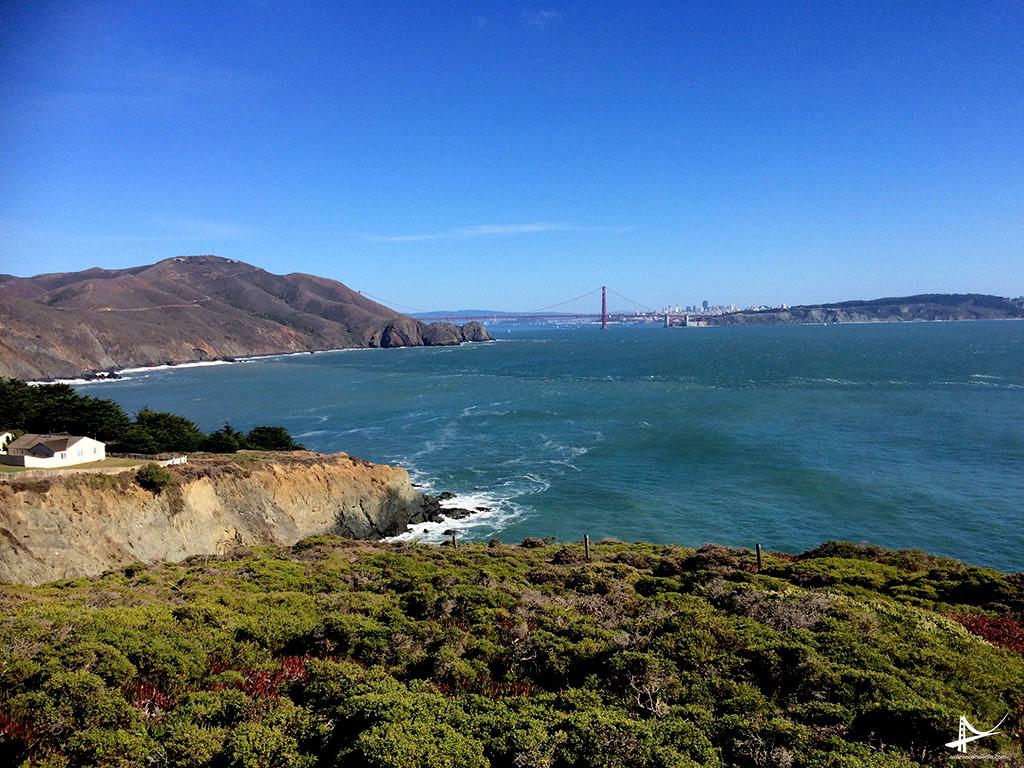 Vista da Golden Gate Bridge do Point Reyes