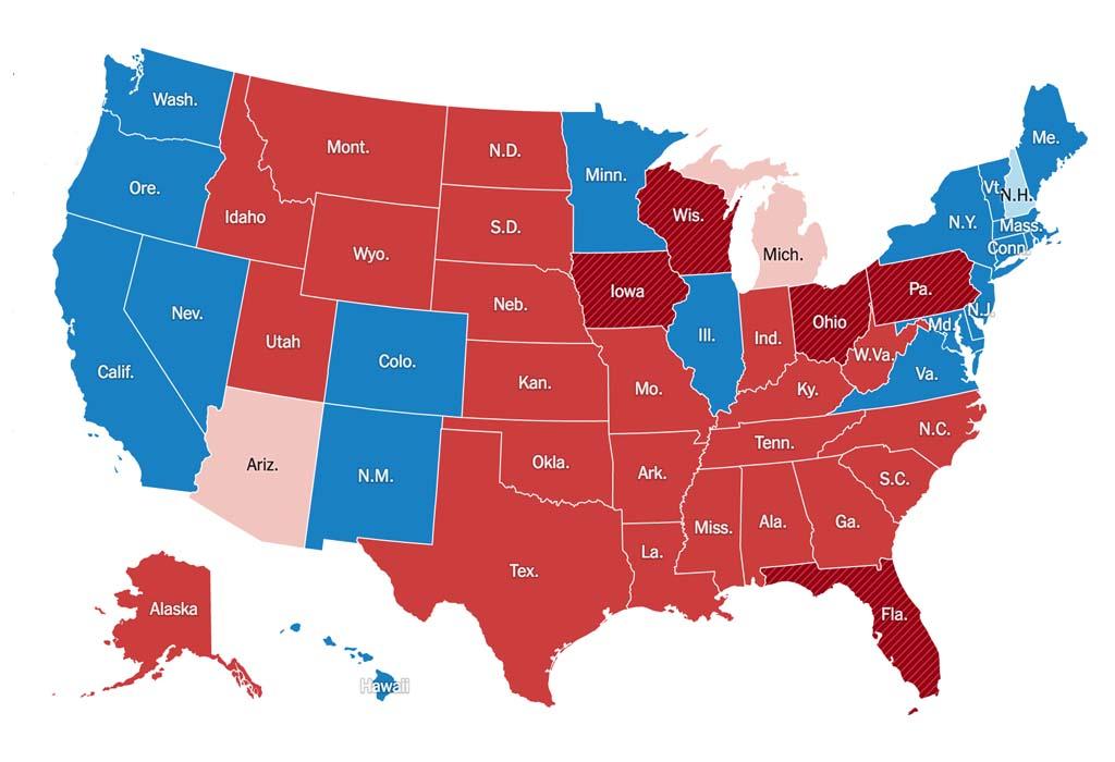 Resultado das eleições no Estados Unidos