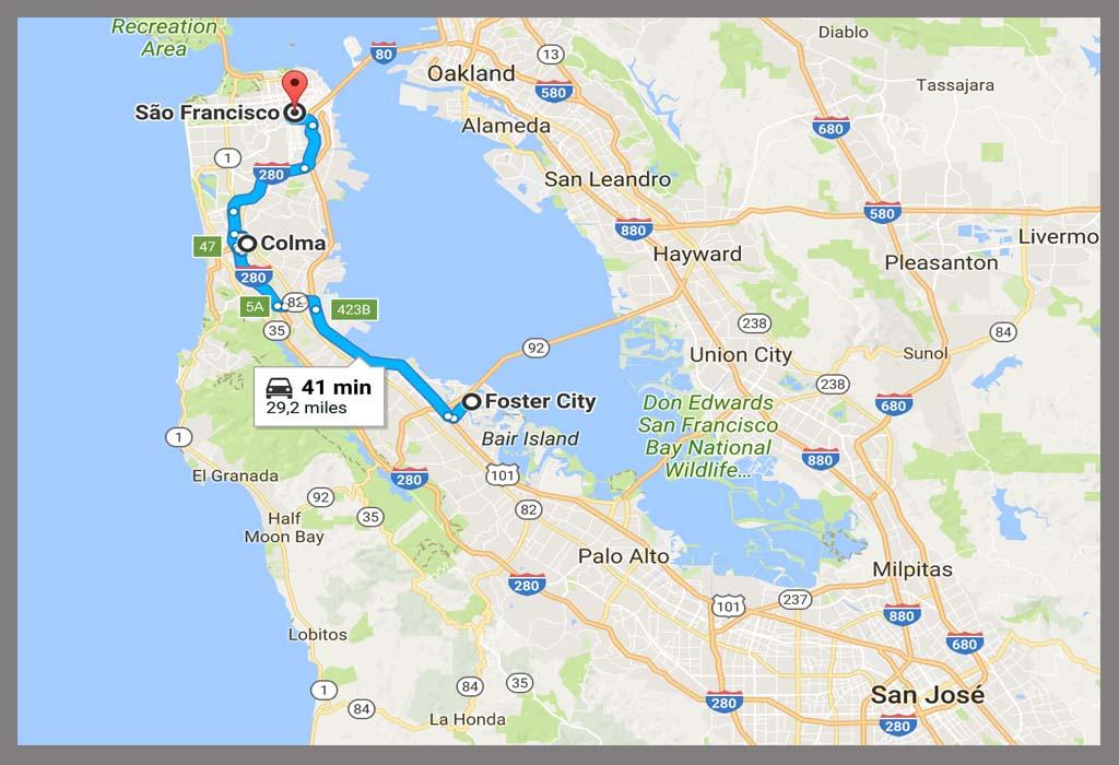 Mapa SF para Foster City
