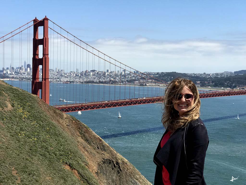 Vista da Golden Gate bridge de Marin Headlands