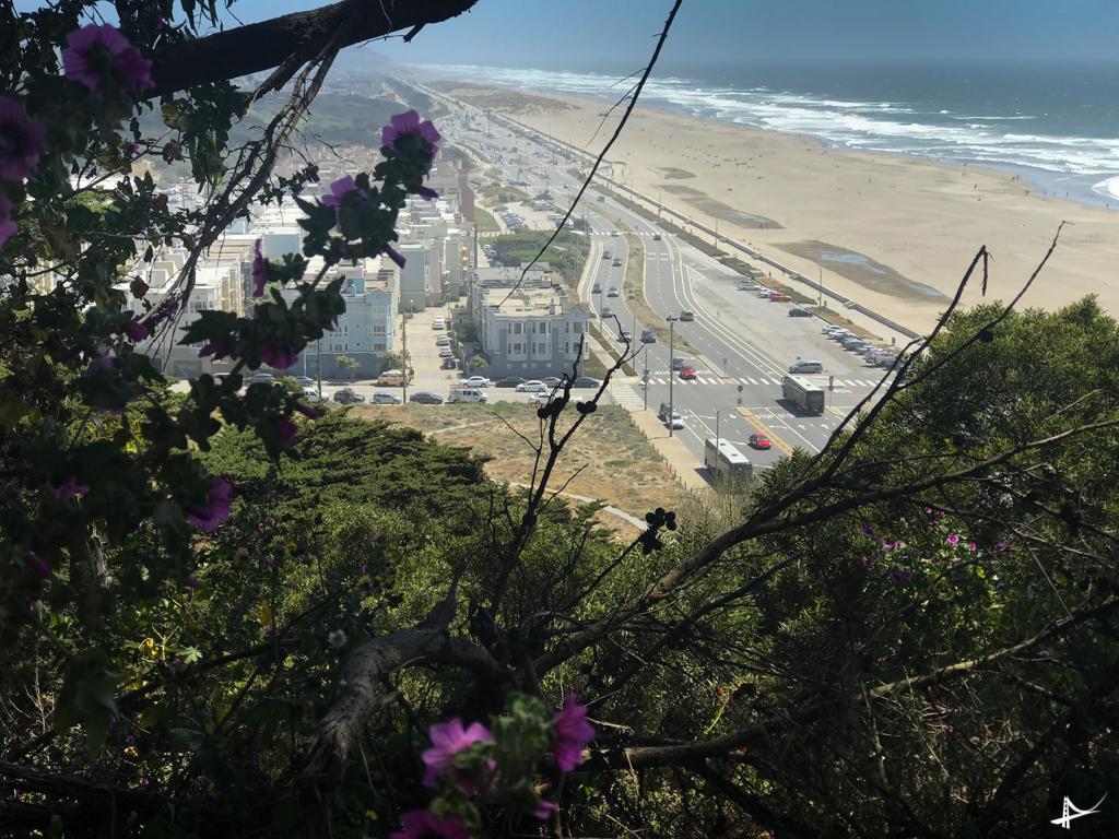 Vista da Ocean Beach do Sutro Heights Park
