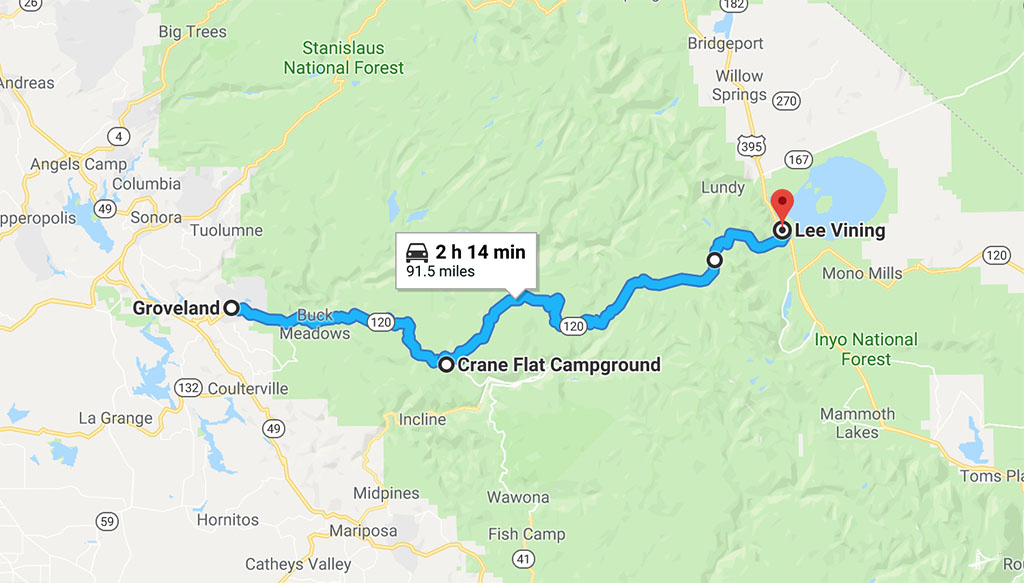 Tioga Pass Mapa