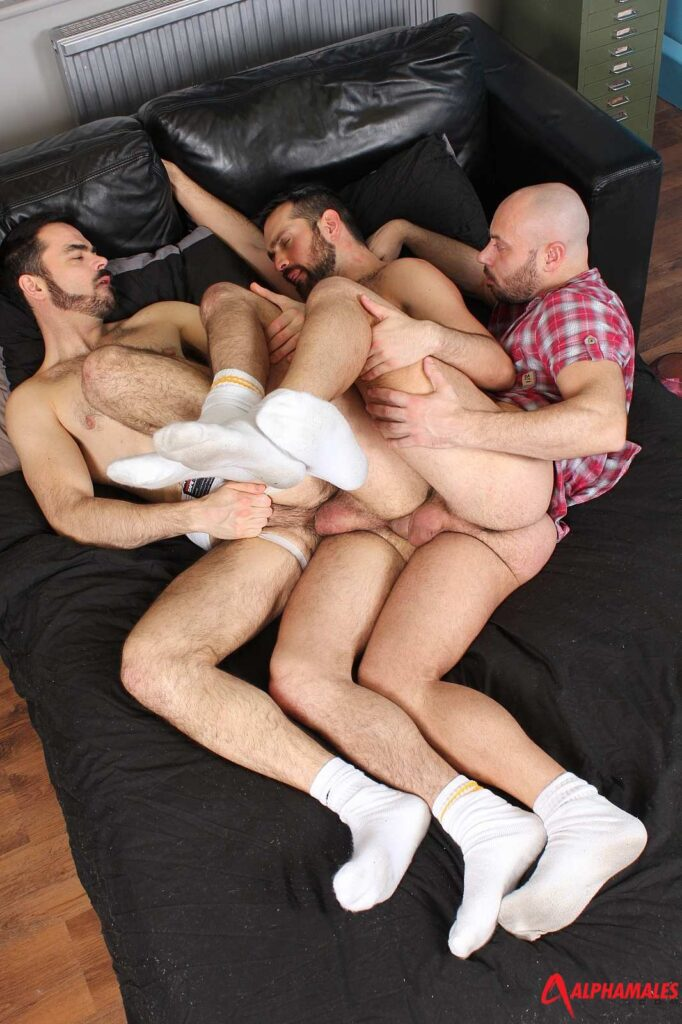 Dolan Wolf takes two dicks up his horny hairy ass 06