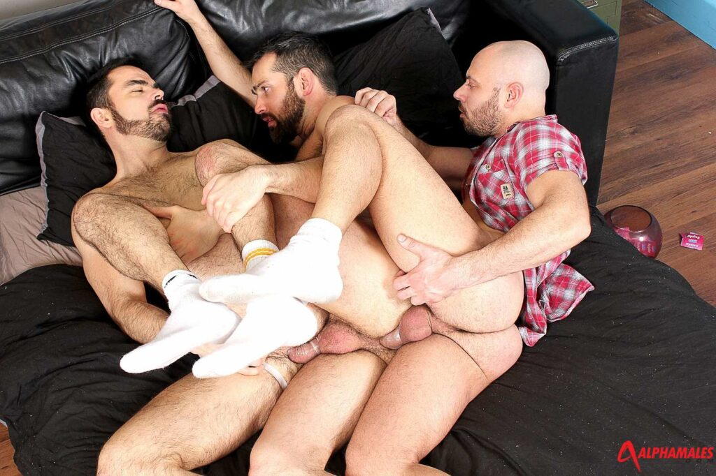 Dolan Wolf takes two dicks up his horny hairy ass 07