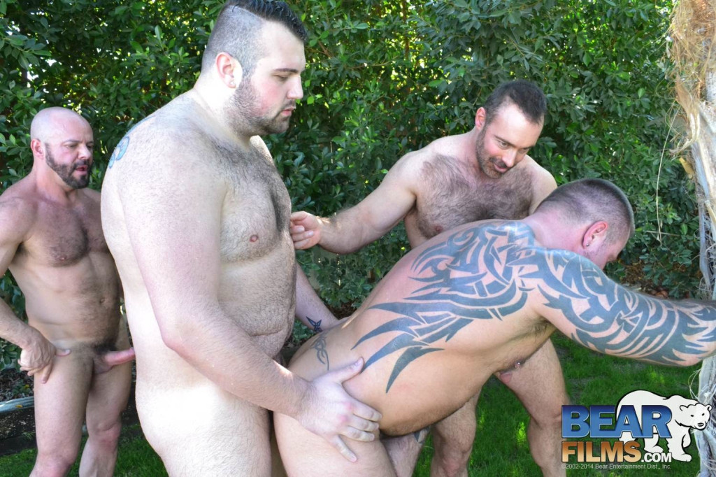 Four Big Hairy Daddy Bears Fuck Outdoor