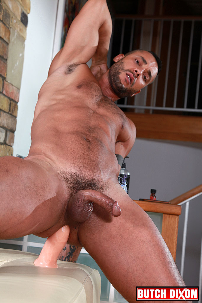 Toffic fucks his hungry hole with a huge dildo 5