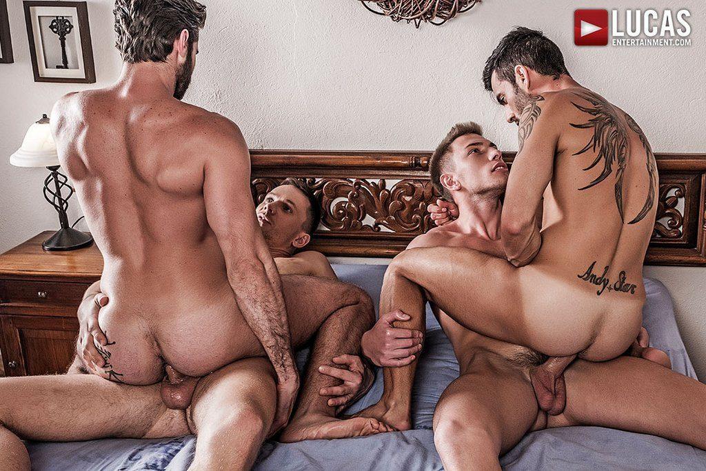 Four Hung Guys Have Bareback Orgy 02