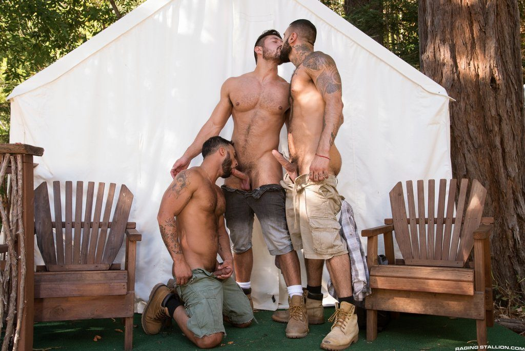 Three Hot Hairy Guys Fuck Outdoor 01