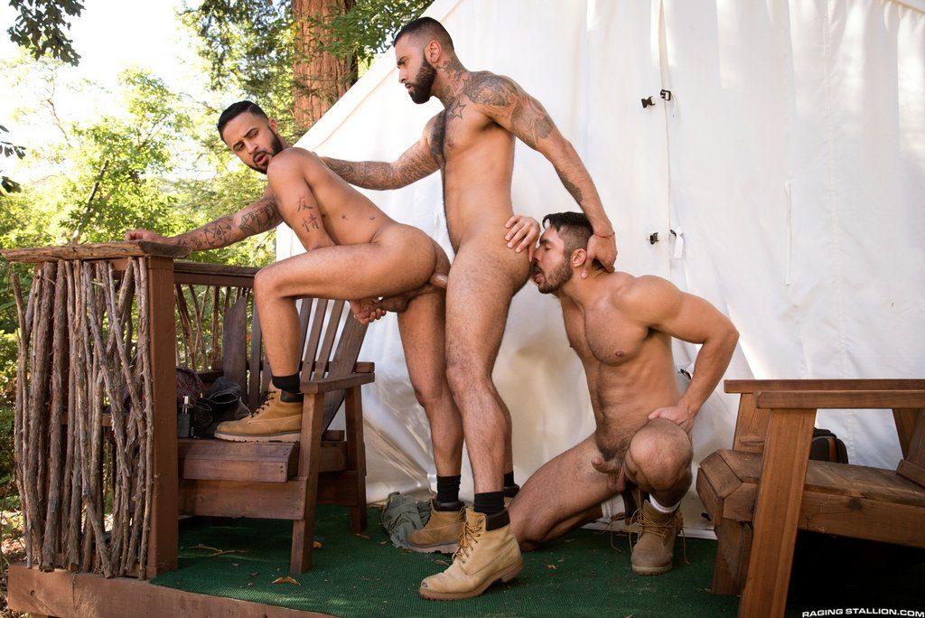 Three Hot Hairy Guys Fuck Outdoor 04