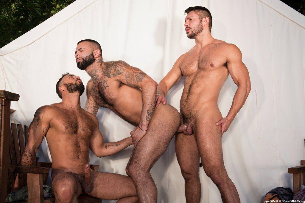 Three Hot Hairy Guys Fuck Outdoor 06