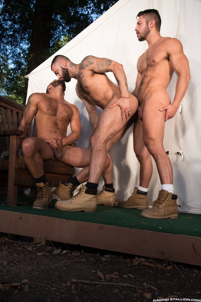 Three Hot Hairy Guys Fuck Outdoor 07