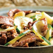 Stir-Fried Cucumber and Pork with Golden Garlic